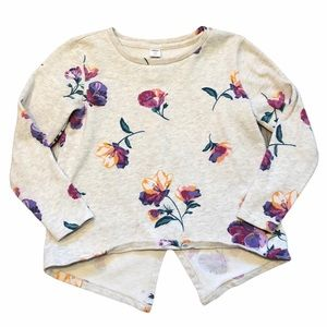 Old Navy Girls Cream Floral Sweater - SZ M